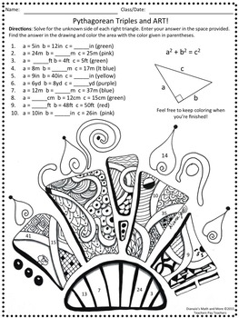 8th Grade Math Pythagorean Triples and Art Worksheet by DianaJo's ...