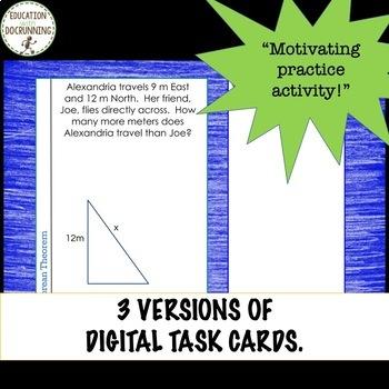 Pythagorean Word Problem Digital Task Card Activity