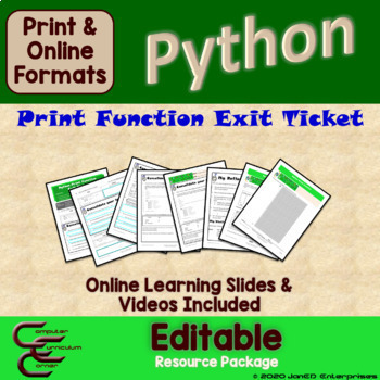 Python 1 C Output Culminating Activity Package