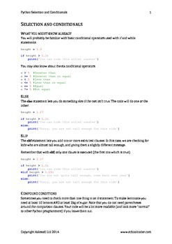 Python 3 Selection and Conditionals