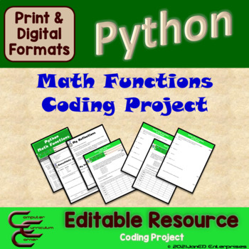 Python 5 C Math Functions Culminating Activity Package