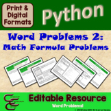 Python 8C Math Word Problems ⇨EDITABLE⇦ Resource Package