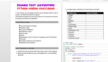 Python Coding: Zombie Survival Text Adventure Game