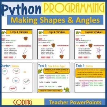 Python Programming Lesson Plans Bundle - Coding with Python Turtle (Make  Shapes)