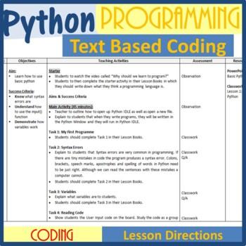 Python Programming Coding - The Entire 1st Lesson Plans Bundle (Editable)