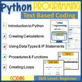 Python Programming Lesson Plans Bundle Text Based Coding (