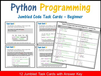 Python Programming – Jumbled Code Task Cards (Beginner)