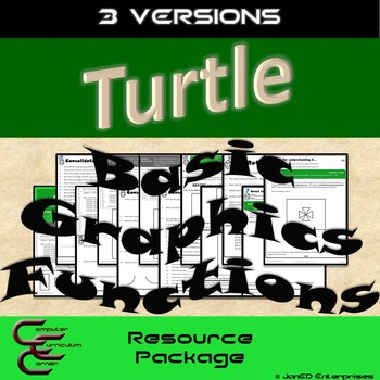Python Turtle 1A Graphics Basic Commands 3 Version Resource Package