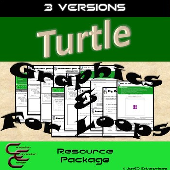 Python Turtle 1C Graphics and For Loops 3 Version Resource Package