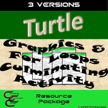 Python Turtle 1D For Loops Culminating Activity 3 Version Resource Package