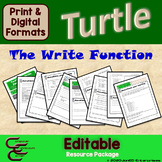 Python Turtle 2A The Write Function Basics Resource Package ⇨EDITABLE⇦