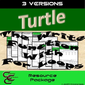 Python Turtle 2B The Write Function with For Loops 3 Version Resource Package