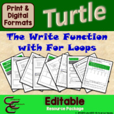 Python Turtle 2B The Write Function with For Loops Resource Package ⇨EDITABLE⇦