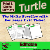 Python Turtle 2C The Write Function and For Loop Culminating Activity ⇨EDITABLE⇦