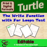 Python Turtle 2D The Write Function and For Loop Test Resource Package⇨EDITABLE⇦