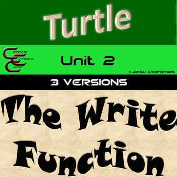 Python Turtle Unit 2 The Write Function and For Loops 3 Versions