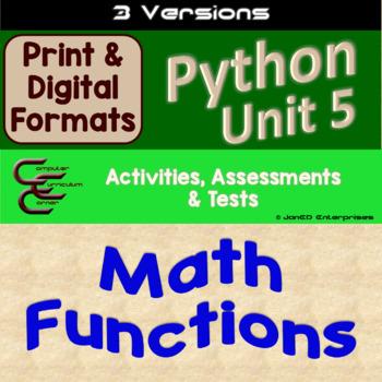Python Unit 5 Math Functions 3 Versions
