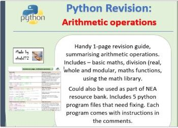Python revision and activities - Arithmetic operations