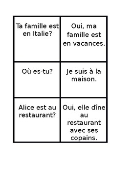 Endroits (Places in French) Questions and Answers Old Maid game