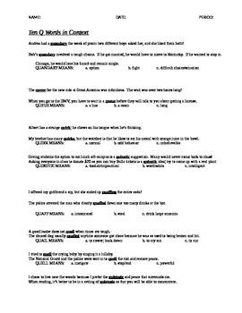 Q ACT Words in Depth: ACT Word Practice
