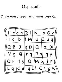 Q,R,S,T,U Upper and Lower Case Letter Search