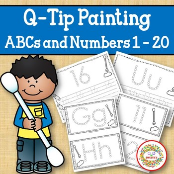 Q Tip Painting Alphabet and Numbers with Q Tip Placement