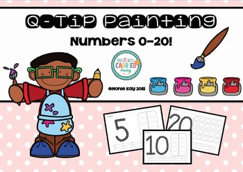 Q-Tip Painting Pages Numbers 1-20 Maths Activities