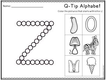 Q Tip Painting Letters Worksheets(Alphabet Practice)