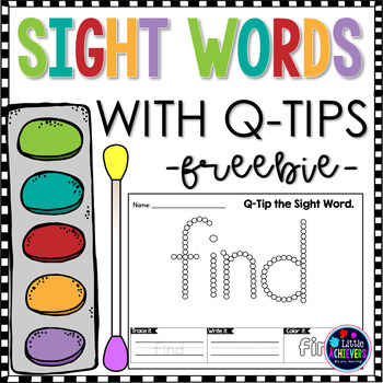 Q-Tip Sight Word Freebie