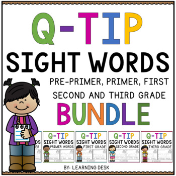 Sight Words Kindergarten,First And Second Grade Q Tip Worksheets Bundle