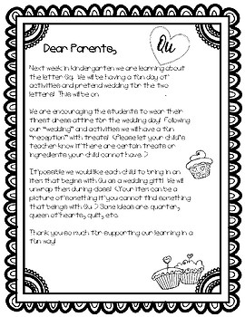Q U Wedding Letter To Parents By Busy Little Bees Tpt