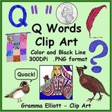 Clip Art - Q Words - Realistic Color and Black Line