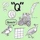 Q Words Realistic Clip Art Color and Black Line