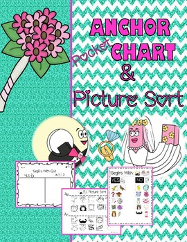 Q and U Wedding Anchor/Pocket Chart and Sorting Activity