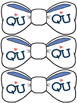 Q and U paper hats, bow ties and crowns.