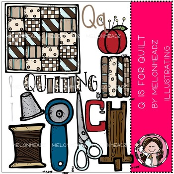 Q is for quilt - clip art - by Melonheadz