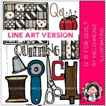Q is for quilt clip art - LINE ART- by Melonheadz