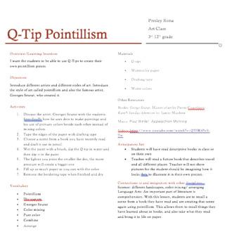 Q-tip pointillism lesson plan