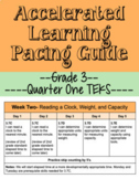 Q1 Grade 3 Math Accelerated Learning Model Pacing Guide (TEKS)- Editable