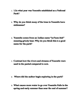 QAR Comprehension Questions Reading Street 4th Grade Letters to Yosemite
