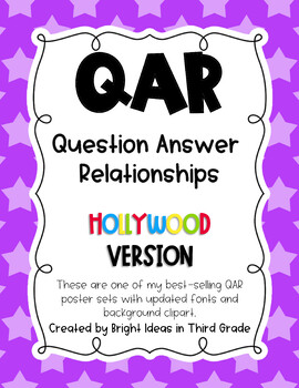 QAR Hollywood Theme Posters {Question Answer Relationships}