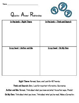 QAR Practice Sheet for: QAR Game and Practice using Nurser