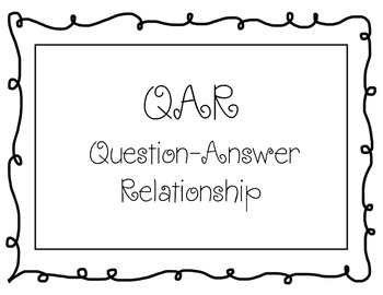 QAR (Question-Answer Relationship Posters) - Black and White Border