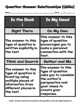 qar question answer relationships graphic organizer and examples