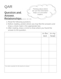 QAR - Question Answer Relationships - template and organizer