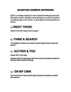 QAR Reading Strategy