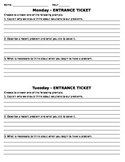 QAR Reading Strategy Daily Entrance-Exit Tickets
