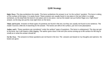 QAR reading activity cards