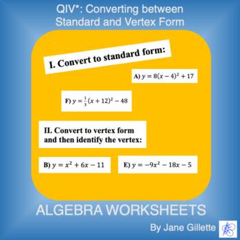 Converting From Standard To Vertex Worksheets & Teaching ...