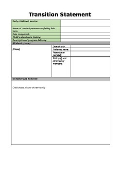 QKLG Transition Statement template